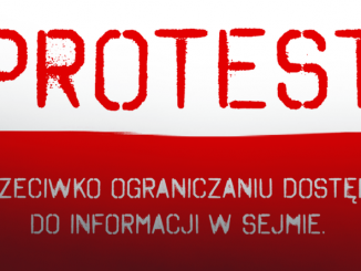 Protest przeciwko ograniczaniu dostępu do informacji W Sejmie