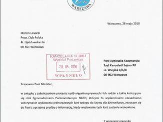 Pismo Press Clubu Polska do Kancelarii Sejmu