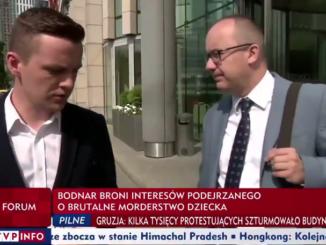 Adam Bodnar z reporterem TVP Info Danielem Machnowskim