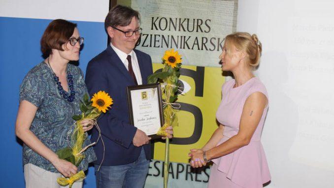 Katarzyna Głuch i Jarosław Juszkiewicz (sekretarz naszego oddziału Stowarzyszenia Dziennikarzy RP) otrzymali III nagrodę